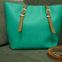 Tas wanita NICOLE bahan KULIT SINTETIS warna biru hijau tosca