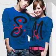 Kaos Couple Lengan Panjang / Baju pasangan Soulmate Biru 9382