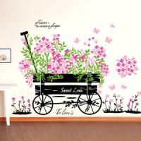 Flowers in Cute Car AY705 - Stiker Dinding / Wall sticker (50x70)