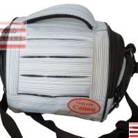 tas sandang kamera/ camcorder kecil putih abu-abu