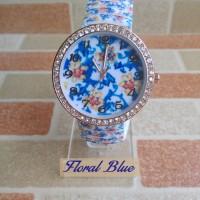 Jam Tangan Floral Biru