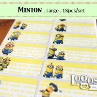 Minion LARGE Label nama waterproof. Sticker despicable me papoy banana
