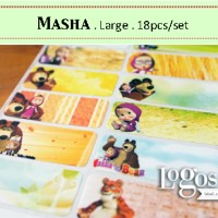 Masha and the Bear LARGE Label nama waterproof. Sticker animasi kartun