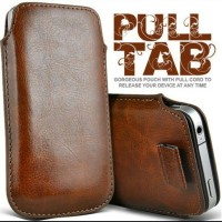 BLACK PULL TAB LEATHER POUCH CASE SKIN for ASUS ZenFone 4