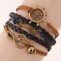 Gelang Korea Multicharm Brown Music Skull KB37122