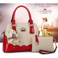 tas wanita merah hot red arisan reuni cantik simple 3 in 1 putih kulit