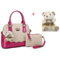 tas wanita pink rose murah import kulit glossy 3in1 putih handbag bahu