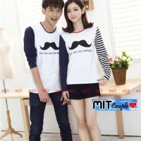 Kaos Couple Lengan Panjang / Baju Pasangan Kumis Putih