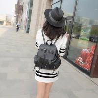 tas ransel punggung pergi santai cantik hitam simple wanita fashion pu
