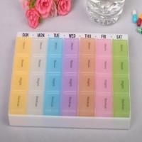 Kotak Obat Persegi 7-Hari / 7-Warna / 28-Kotak (Bisa Dilepas)
