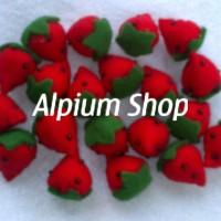 Jual TOPPING FLANEL BUAH STROBERI / Strawberry 01 Murah