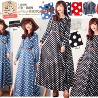 harga Cb - 0781 Maxi Dress Katun Stretch Motif Polkadot By Clara Belle Tokopedia.com