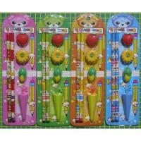 stationery set paket alat tulis pensil penghapus buah jagung payung st