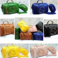 Tas Gucci Estonia Studded Embossed Semprem Uk30x15x18