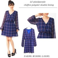 Dress Midi Branded Kotak Ungu Plaid Baju Terusan WAnita V-Neck Pesta