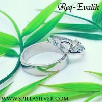 Cincin Couple Unik REQ-EVALIK Silver Lapis Rhodium