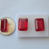 harga Ms6964 Batu Permata Merah Siam Cuting Octagon / Synthetic Ruby Tokopedia.com