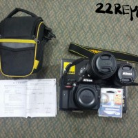 Nikon D3300 Full Set + Lensa Nikon 18-55mm VR-II + Nikkor AF-S 55-200m