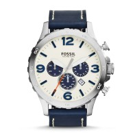 Jam Tangan FOSSIL Original JR1480 NATE CHRONOGRAPH NAVY LEATHER