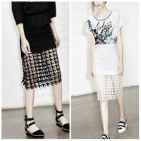 harga SYTZ7IG Lace Skirt # Rok Lace Brukat Midi # Rok Hitam # Rok Putih Tokopedia.com