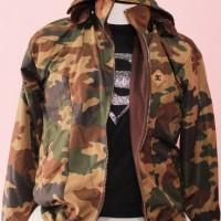 Jacket Army Resleting | corak hijau | Abu - Putih | Bisa Bolak Balik
