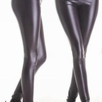 Black Legging hw PU Leather kulit latex pants hitam kpop korea import
