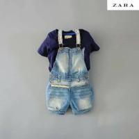 Setelan Zara import overall denim & inner t shirt size 1-6thn