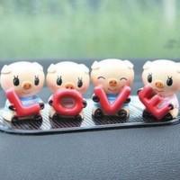 Jual Set Miniatur 4-Ekor Babi Kecil Memegang Tulisan