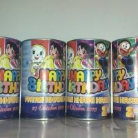 Sovenir Ulang tahun Celengan kaleng Tema Doraemon