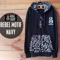 JAKET SWEATER REBEL EIGHT MOTIF LOGO KEREN / HITAM / NAVY Z02