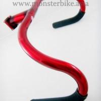 Handle Bar Focale 44 Track Bar W/ Stem 25.4mm Red + Hand grip Black