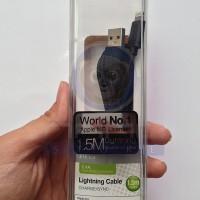 Kabel Zikko Hitam 1,5M, Tidak Mudah Rusak, for iPhone 5 / 5S / 6 / 6+