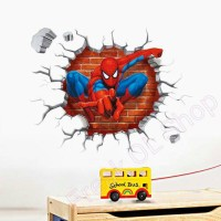 3D Spiderman Wall Stickers for Kids Rooms Stiker Dinding Spiderman