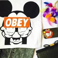 Kaos Fashion tumblr tee mickey obey / T-Shirt wanita mickey obey