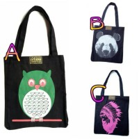 harga Tas Totebag Octopus Panda , Owl, Mickey Mouse, Indian Girl's Tokopedia.com
