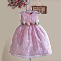 harga dress party zoe flower brukat pink-gaun pesta anak perempuan import Tokopedia.com