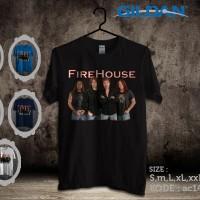 Kaos musik fire house,foto personil-Kaos gildan softstyle