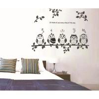 Jual WALLSTICKER/WALL STIKER TRANSPARAN 50X70-JM8353-BLACK OWL Murah
