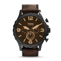Jam Tangan FOSSIL Original Watch JR1487 NATE CHRONOGRAPH BROWN LEATHER