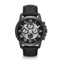 Jam Tangan FOSSIL Original Watch ME3028 GRANT AUTOMATIC BLACK LEATHER
