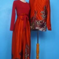 Amanda (Orange) Gamis Couple Batik Sarimbit Baju Muslim