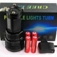 Senter Belor fokus monster 4 batre / bateray led cree T6 putih 5mode