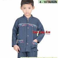 Zeintin Baju Koko Pakaian Muslim Anak Cotton BA 8701 BIRU DONGKER