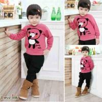 Ch177hlv Panda Pink Suit Xl / Setelan Anak-anak /piyama/ Babydoll