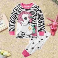 Baju Tidur Piyama Anak - Setelan Anak Cewek Perempuan Girl- Cute Horse