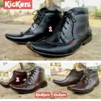 Sepatu kerja pesta kickers pantofel boots tali hitam coklat