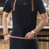 Apron Canvas and Synthetic Leather (Celemek), Barista/chef (Black)