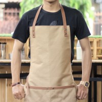 Apron Canvas and Synthetic Leather (Celemek), Barista/chef (Brown)