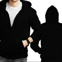 Jaket/Sweater Hoodie Hitam Polos (Zipper)