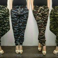 Jual celana jogger/joger pants bahan strech loreng army cewe wanita murmer Murah
